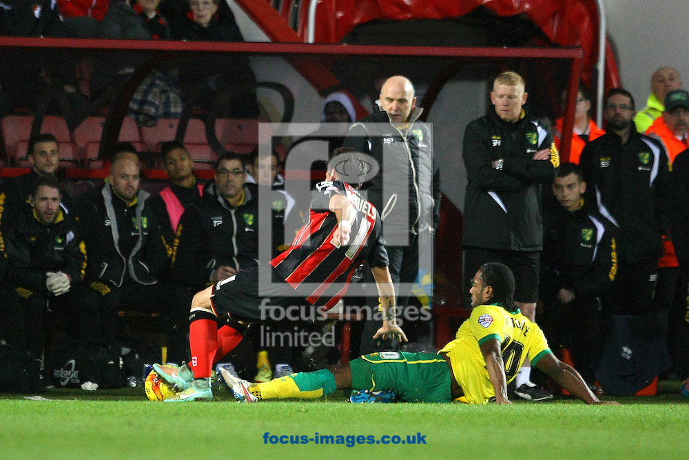 Cameron Jerome of Norwich and Charlie Daniels of Bournemouth in action during the match at the Goldsands Stadium, Bournemouth<br /> Picture by Paul Chesterton/Focus Images Ltd +44 7904 640267<br /> 10/01/2015