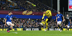 Guillaume Hoarau of BSC Young Boys fires a shot towards goal   - Photo mandatory by-line: Matt McNulty/JMP - Mobile: 07966 386802 - 26/02/2015 - SPORT - Football - Liverpool - Goodison Park - Everton v Young Boys - UEFA EUROPA LEAGUE ROUND OF 32 SECOND LEG