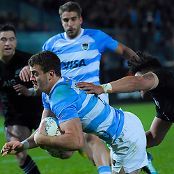 Emiliano Boffelli scores during the Rugby Championship match between the New Zealand All Blacks and Argentina Pumas at Trafalgar Park in Nelson, New Zealand on Saturday, 8 September 2018. Photo: Dave Lintott / lintottphoto.co.nz