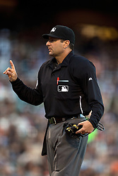 SAN FRANCISCO, CA - JUNE 24:  MLB umpire Jim Reynolds #77 stands behind home plate during the first inning between the San Francisco Giants and the San Diego Padres at AT&T Park on June 24, 2015 in San Francisco, California.  The San Francisco Giants defeated the San Diego Padres 6-0. (Photo by Jason O. Watson/Getty Images) *** Local Caption *** Jim Reynolds