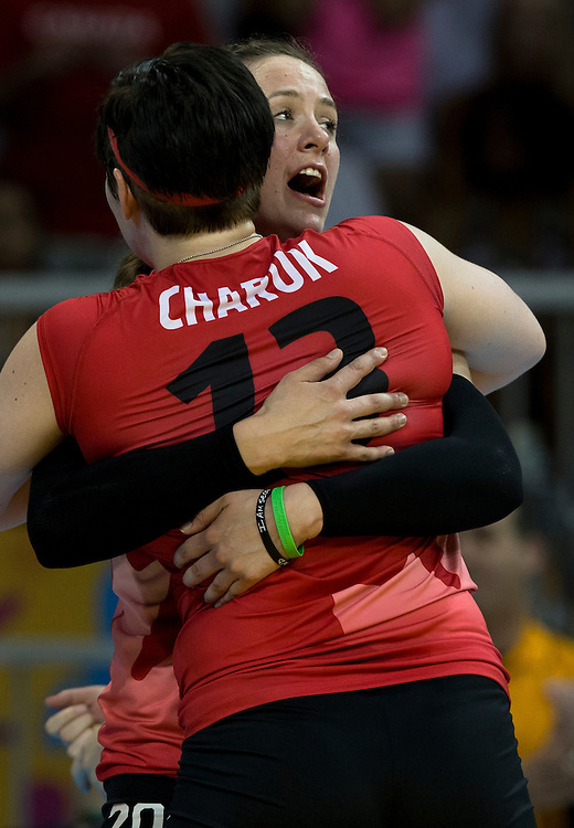 The Canadian Women's Indoor Volleyball team defeats Cuba 3-1 (25-21,19-25, 25-18, 25-22) at the Pan Am Games in Toronto, Ontario on July 18, 2015.