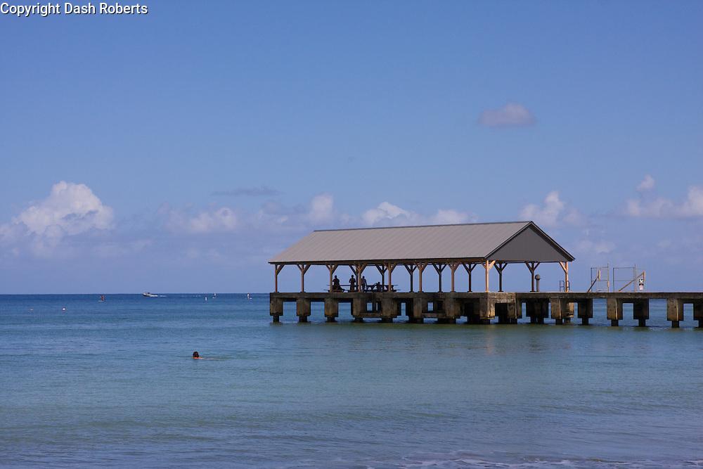 New Hanalei Pier - rebuilt Spring 2013 on Hanalei Bay, Kauai.