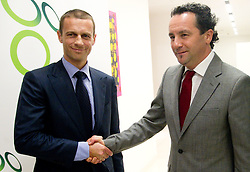 Aleksander Ceferin, president of NZS shaking hands with Slavisa Stojanovic,   a new head coach of Slovenian National football Team during press conference of Football federation of Slovenia, on October 24, 2011, in Brdo pri Kranju, Slovenia.  (Photo by Vid Ponikvar / Sportida)