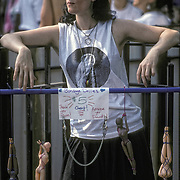 Lesbian selling bondage dollies @ Lesbian march, NYC