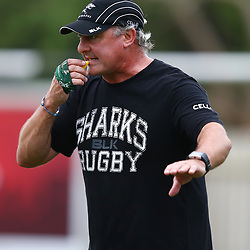 DURBAN, SOUTH AFRICA - APRIL 07: Gary Gold (Sharks Director of Rugby) during the Cell C Sharks training session at Growthpoint Kings Park on April 07, 2015 in Durban, South Africa. (Photo by Steve Haag/Gallo Images)