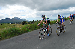 Cyclists competiting in the Irish National Championships in Westport,.crossing over Sandy Hill with Croagh Patrick in the background...Pic Conor McKeown
