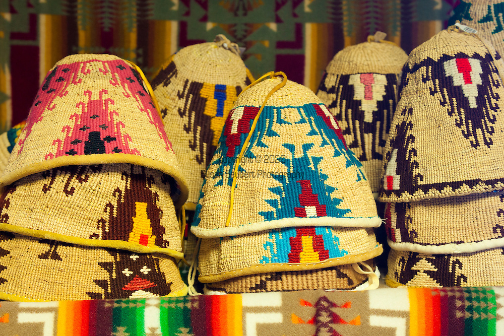 "Yakama National Cultural Center Gift Shop features hand made Yakama handwork.  Hand-made, traditional hats called, ""palaapa."""