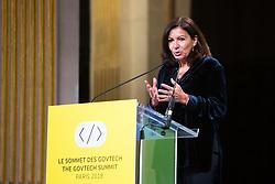 Mayor of Paris Anne Hidalgo delivers a speech at the GovTech Summit, at Paris city hall, on November 12, 2018. Photo by Raphaël Lafargue/ABACAPRESS.COM