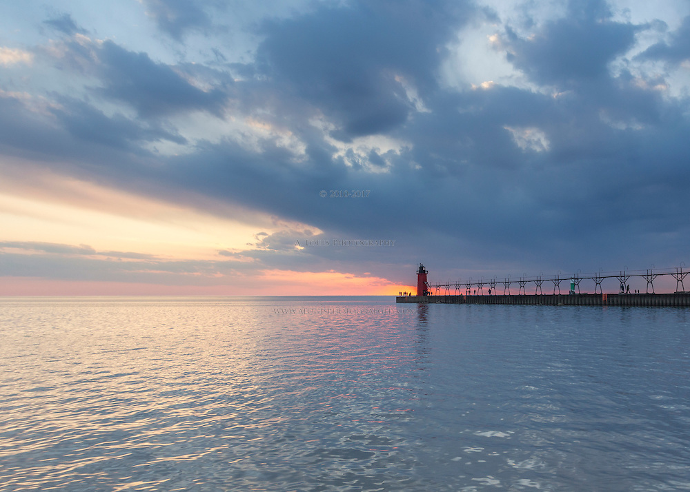 The tranquil calm of Lake Michigan on quiet spring evening