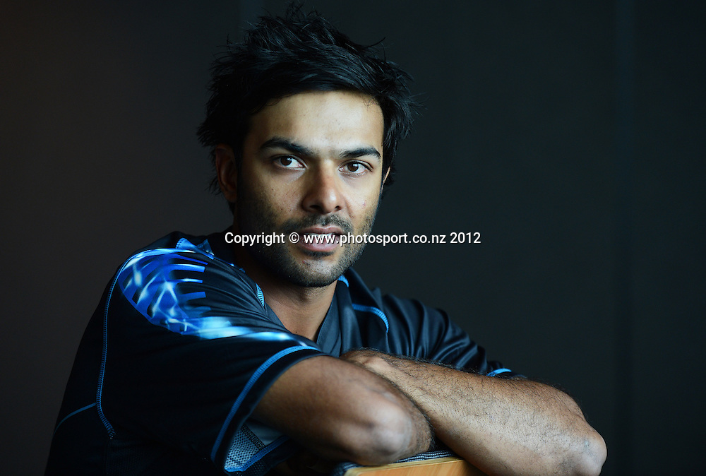 Ronnie Hira, New Zealand Black Caps photoshoot and portrait / headshots session. International Cricket. Novotel Hotel, Auckland. 12 December 2012. Photo: Andrew Cornaga/photosport.co.nz