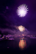 Annual fireworks show at Jokulsarlon