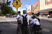 U.S. Border Patrol agents patrol downtown streets near the Mexican border in Nogales, Arizona, USA.