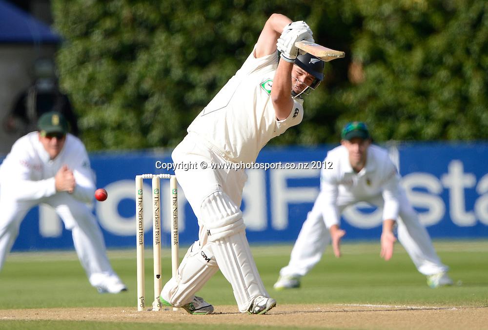 Daniel Flynn batting. Third Test, Day 4. New Zealand Black Caps versus South Africa Proteas, Basin Reserve, Wellington, New Zealand. Monday 26 March 2012. Photo: Andrew Cornaga/Photosport.co.nz
