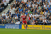 Marnik Vermijl watched by George Friend during the Sky Bet Championship match between Preston North End and Middlesbrough at Deepdale, Preston, England on 9 August 2015. Photo by Simon Davies.