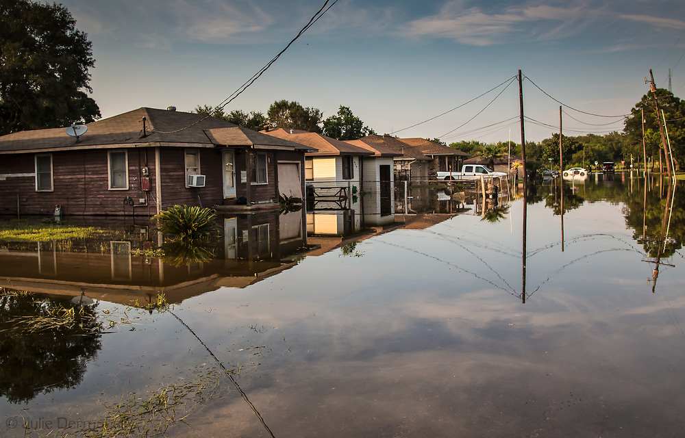 Floodwaters remained in Port Arthur days after Hurricane Harvey's rain stopped.