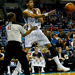 Jan 1, 2013; New Orleans, LA, USA; New Orleans Hornets power forward Anthony Davis (23) saves a ball from going out of bounds during the second quarter of a game against the Atlanta Hawks at the New Orleans Arena. Mandatory Credit: Derick E. Hingle-USA TODAY Sports