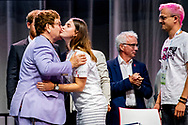 AMSTERDAM - Singer Elton John and the British Prince Harry during a session at the AIDS2018 conference about the work of the Elton John Aids Foundation.ROBIN UTRECHT