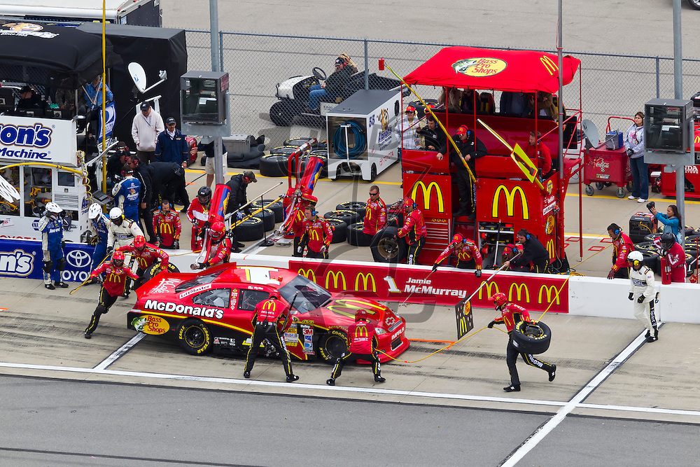 KANSAS CITY, KS - APR 22, 2012:  Jamie McMurray (1) races during the STP 400 at the Kansas Speedway in Kansas City, KS.