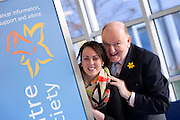 Repro Free:.Irish broadcaster, journalist and rugby union pundit George Hook is pictured at the launch of the Irish Cancer Society Daffodil Centre at St. James's Hospital with Edel Byrne, Daffodil Centre Nurse. The Daffodil Centre is an extension of the Irish Cancer Society's Cancer Information Service at the point of diagnosis and treatment, the hospital. Pic Andres Poveda.