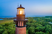 Aerial photograph of Currituck Beach Lighthouse in Corolla on the Outer Banks of NC.