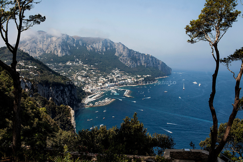 """04 August 2017, Capri Italy - A view of the port of """"Marina Grande"""" from the top of Tiberio mountain of Capri Island."""