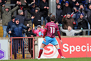 Scunthorpe United midfielder Josh Morris (11) scores a goal 1-0 and celebrates  during the EFL Sky Bet League 1 match between Scunthorpe United and Shrewsbury Town at Glanford Park, Scunthorpe, England on 17 March 2018. Picture by Mick Atkins.