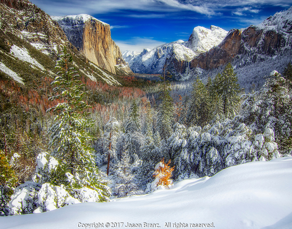 Yosemite Valley from Tunnel View after a winter snow, Yosemite National Park, California.