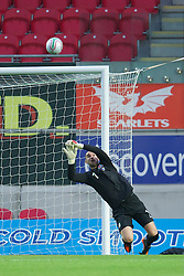 LLANELLI, WALES - Wednesday, August 15, 2012: Wales' goalkeeper Boaz Myhill makes a save against Bosnia-Herzegovina during the international friendly match at Parc y Scarlets. (Pic by David Rawcliffe/Propaganda)