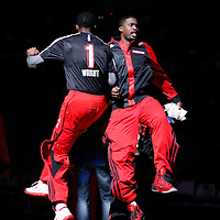 06 December 2013: Portland Trail Blazers shooting guard Wesley Matthews (2) is seen during the players introduction prior to the Portland Trail Blazers 130-98 victory over the Utah Jazz at the Moda Center, Portland, Oregon, USA.