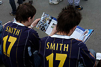 Photo. Glyn Thomas.<br /> Digitalsport<br /> NORWAY ONLY<br /> <br /> Leeds United v Charlton Athletic. <br /> FA Barclaycard Premiership. 08/05/2004.<br /> Two young fans of Alan Smith contemplate losing their favourite player as Leeds are relegated.