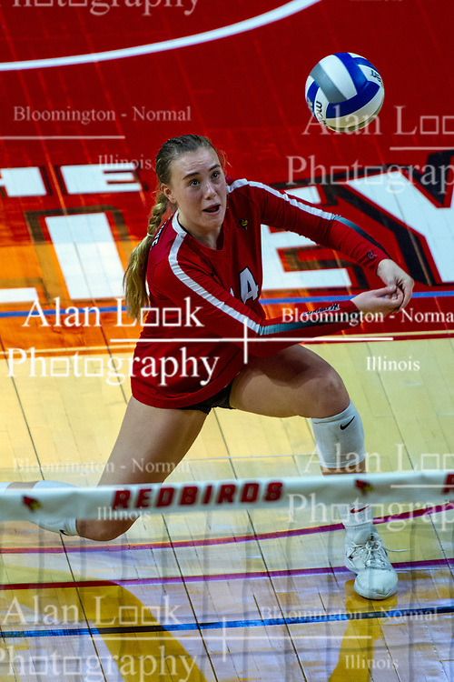 BLOOMINGTON, IL - September 14: Sarah Kushner digs during a college Women's volleyball match between the ISU Redbirds and the University of Central Florida (UCF) Knights on September 14 2019 at Illinois State University in Normal, IL. (Photo by Alan Look)