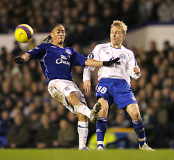 Liverpool, England - Wednesday, December 5, 2007: Everton's Steven Pienaar and Zenit St. Petersburg's Alexander Gorshkov during the UEFA Cup Group A match at Goodison Park. (Photo by David Rawcliffe/Propaganda)