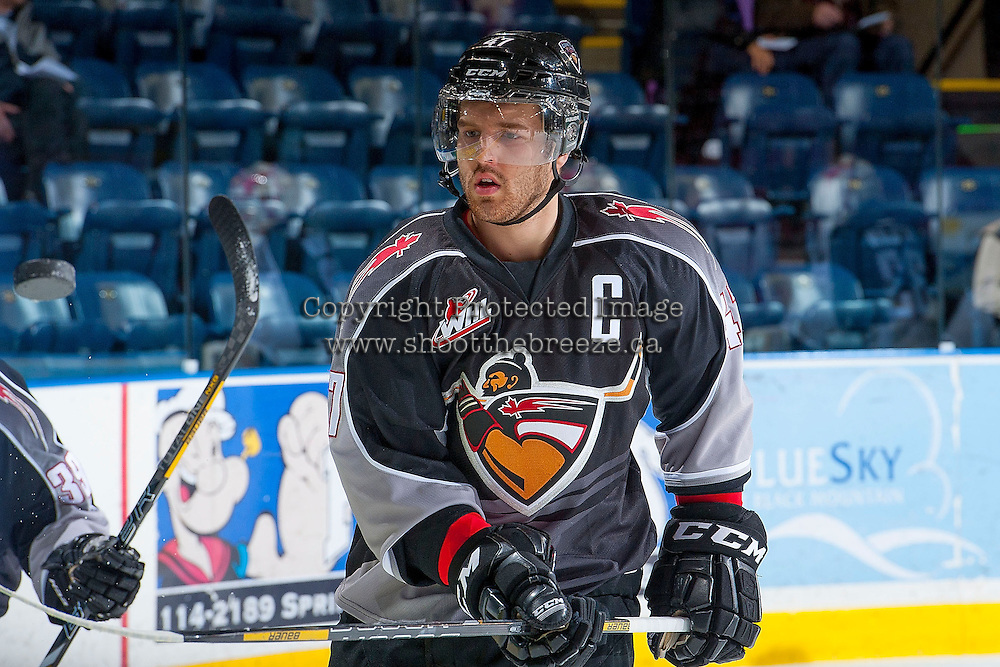 KELOWNA, CANADA - JANUARY 4: Dalton Thrower #47 of the Vancouver Giants warms up against the Kelowna Rockets on January 4, 2014 at Prospera Place in Kelowna, British Columbia, Canada.   (Photo by Marissa Baecker/Shoot the Breeze)  ***  Local Caption  ***