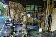 "Straw horse. Tsumago preserves an Edo Period post town on the fuedal Nakasendo route between Kyoto and Edo (present-day Tokyo). To enforce historic ambiance, phone lines and power cables are concealed, and cars are prohibited during daytime. Visitors are encouraged to stay in minshuku and ryokan lodging, and to hike a portion of the trail preserved between Tsumago and Magome villages, via pleasant rural and forest scenery. The Nakasendo, or ""Central Mountain Route"", was one of Five Routes (Gokaido, begun in 1601) which helped the Tokugawa shogunate to stabilize and rule Japan (1600-1868). Tsumago is in Nagano Prefecture, Japan."