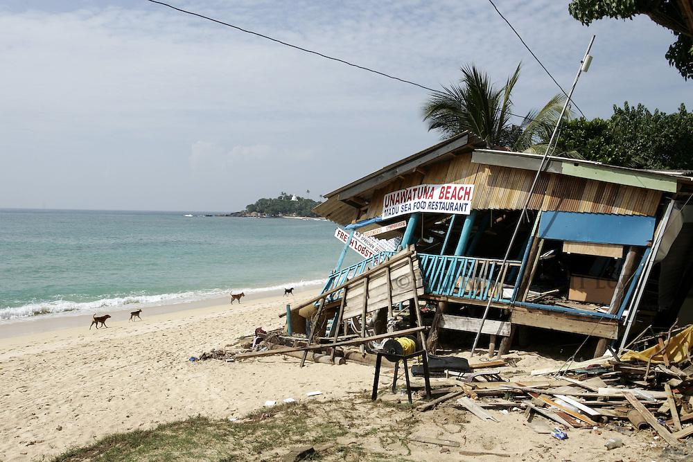 Remains of beach restaurant at Unawatuna Beach Resort in the Tsunami-devastated area of Galles, south west coast of Sri Lanka on January 13, 2005..Photo by Darrin Zammit Lupi