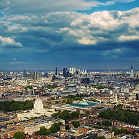 View of London City district from BT Tower, 34 floors up.