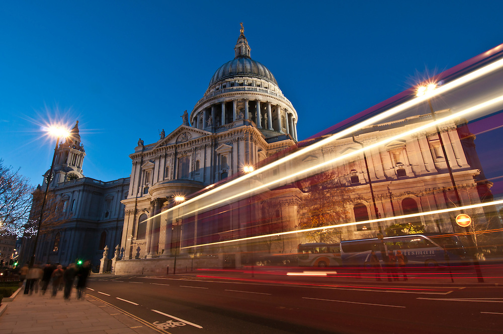 St. Paul's Cathedral at twilight, blue hour, London, United Kingdom