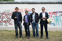 30 MAY 2012, BERLIN/GERMANY:<br /> Thomas Hille, CIO & Co-Founder, Pan Katsukis, CPO & Co-Founder, Martin Karlsch, CTO & Co-Founder, Carsten Frien, CEO & Co-Founder, madvertise Mobile Advertising GmbH, (v.L.n.R.), waehrend einem Fototermin an der Rueckseite der East-Side-Gallery<br /> IMAGE: 20120530-01-037<br /> KEYWORDS: Sart-up, New Economy, Internet, Mobile Communication,
