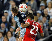 in a MLS soccer match in Kansas City, Kan., Saturday, Mar. 15, 2014. (AP Photo/Colin E. Braley)