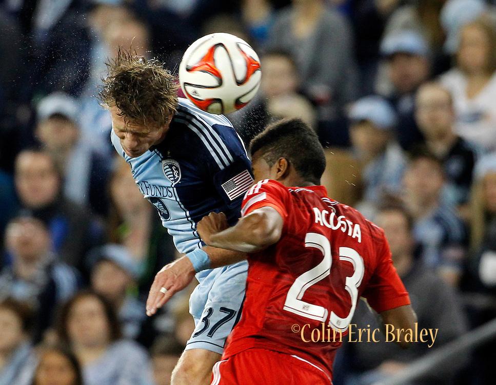 in a MLS soccer match in Kansas City, Kan., Saturday, Mar. 15, 2014. (AP Photo/Colin E. Braley)
