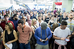 © Licensed to London News Pictures . 26/05/2017 . Manchester , UK . The audience . The Charlatans perform an intimate gig at the former United Footwear shop on Oldham Street ahead of an album signing for the launch of their album Different Days . Photo credit : Joel Goodman/LNP