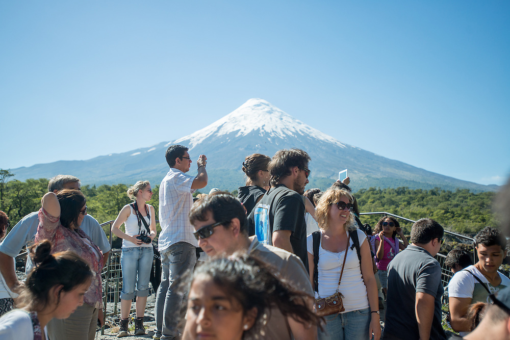 Tourists Observing Osorno Volcano , Puerto Varas, Chile