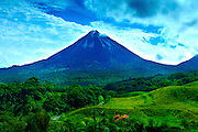 Costa Rica, El Castillo, Mountain Lodge View, Arenal Volcano, Lava Flows, Rainforest.