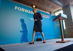 © Licensed to London News Pictures. 18/05/2017. Halifax, UK.  British Prime Minister THERESA MAY leaves the stage after speaking at the launch event for the Conservative Party manifesto at The Arches in Halifax, West Yorkshire. The Conservatives are the last of the three main parties to launch their manifesto ahead of a snap general election called for June 8, 2017. Photo credit: Ben Cawthra/LNP