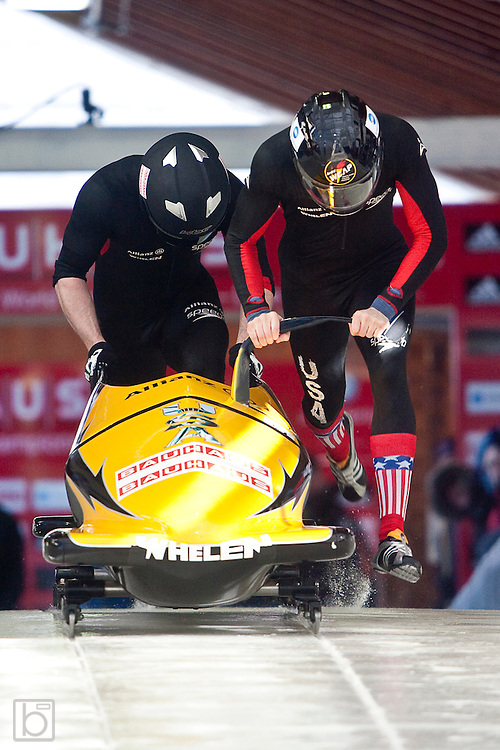 USA's  John Napier and brakeman T.J. Burns push down the start ramp for the first run of the two-man Bobsled World Championships at the Olympic Sports Complex in Lake Placid, N.Y. Saturday, Feb 21, 2009.  (Photo/Todd Bissonette - usabobsledphotos.com)