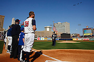 April 16, 2009:  Toledo Mudhens during a flyover by jets at the Home Opener before the MiLB game between Columbus Clippers and Detroit Toledo Mudhens at Fifth Third Field in Toledo, Ohio (Credit Image: © Rick Osentoski/Cal Sport Media)