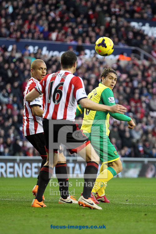 Picture by Paul Chesterton/Focus Images Ltd +44 7904 640267<br /> 21/12/2013<br /> Johan Elmander of Norwich and Sunderland's John O'Shea in action during the Barclays Premier League match at the Stadium Of Light, Sunderland.