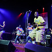 Washington D.C.-based go-go band Mambo Sauce perform at the State Theater in Falls Church, Virginia.