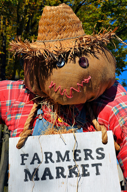 Scarecrow at Granville Farmers Market in Vancouver, Canada<br /> This scarecrow is welcoming you to the Farmers Market on Granville Island.  You will be delighted by the displays of fresh fruits, vegetables and flowers.  But it only lasts for five hours every Thursday from June through October.  In case you missed it, I have lots of mouthwatering photos in the &ldquo;Canada Markets&rdquo; gallery on this website.