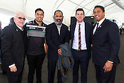 (L to R) Sir Peter Leitch, Dean Whare, James Leuluai, deputy mayor Justin Lester of Wellington and Tawera Nikau, Rugby League World Cup 2017 Draw Announcement, The Cloud, Auckland City, New Zealand. 19 July 2016. Copyright Image: William Booth / www.photosport.nz